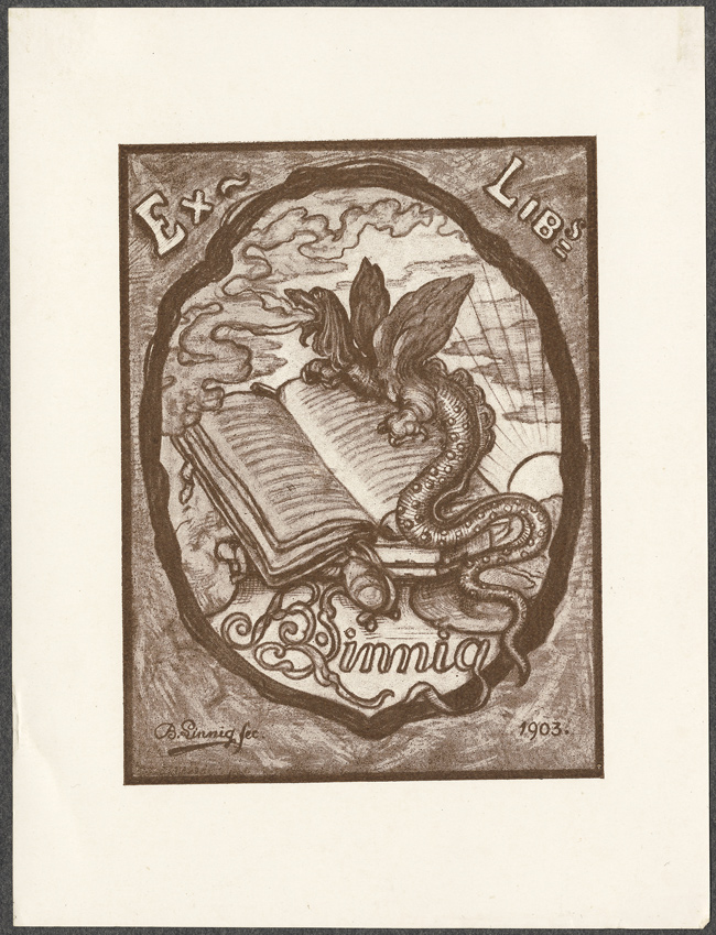 Design by Alfred Petrasch 1904 \ Stylized house trees and sun.\  & The Bookplate Collection: Second Half - 50 Watts
